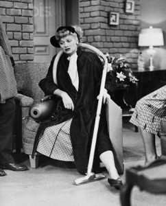 "26 Oct 1952 --- Original caption: 10/26/1952 - ""Sales Resistance"" is the name of this I Love Lucy episode, in which Ricky insists that Lucy get rid of a vacuum she bought from a door-to-door salesman. After a hectic day of trying to sell it to someone else, Lucille is worn out. --- Image by © Bettmann/CORBIS"